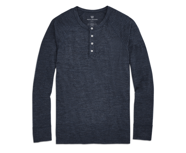 Navy Heather | Front view of Tech Cashmere Henley in Navy Heather