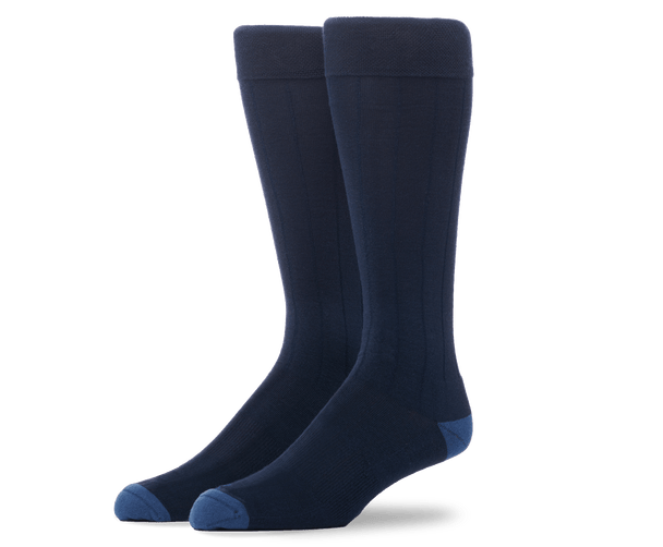 True Navy | Front view of Silver Extended Crew Dress Sock in True Navy