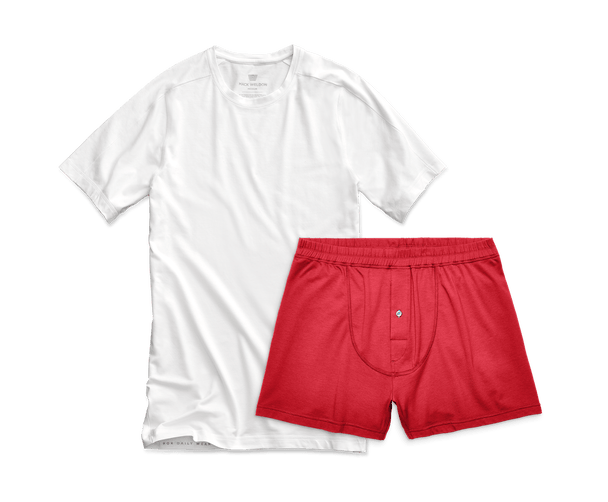 Bright White / Warrior Red | Front view of Easy Sleep Set - Crew Neck in Bright White / Warrior Red