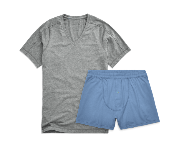 Grey Heather / Dean Blue | Front view of Easy Sleep Set - V-Neck in Grey Heather / Dean Blue