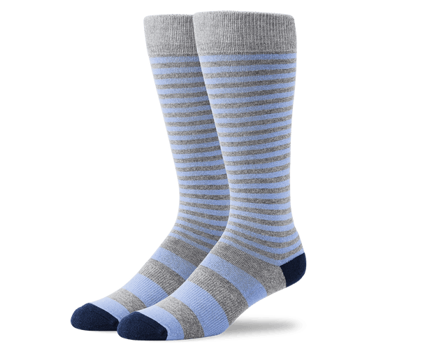 Grey Heather / Blue Haze - Thick & Thin | Front view of Everyday Extended Crew Sock in Grey Heather / Blue Haze - Thick & Thin