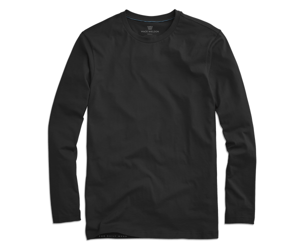 True Black | Front view of Pima Long Sleeve T-Shirt in True Black