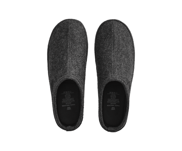 Charcoal Heather | Top-view of slippers in Charcoal Heather grey