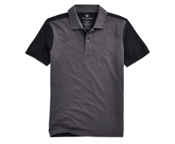 Nine Iron / True Black | Front view of Vesper Polo in Nine Iron / True Black