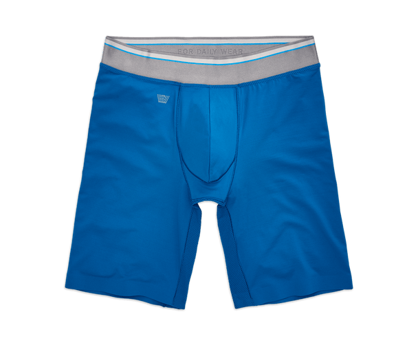 "Mobile Blue | Front view of Proknit 8"" Boxer Brief in Mobile Blue"