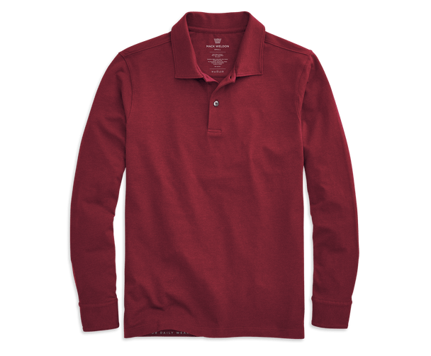 Red Fern | Front view of Intrepid Long Sleeve Polo in Red Fern