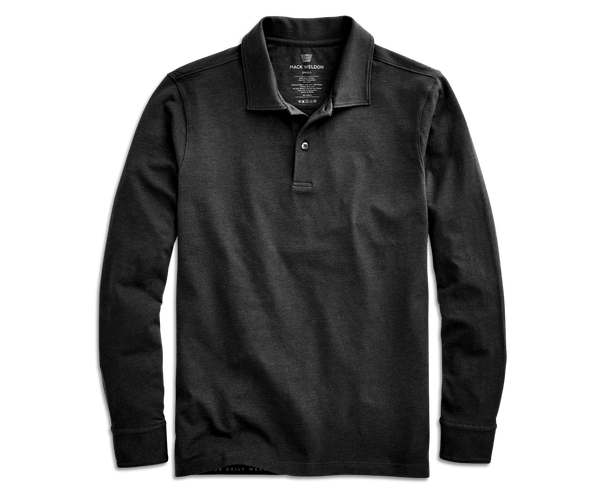 Black | Front view of Intrepid Long Sleeve Polo in Black