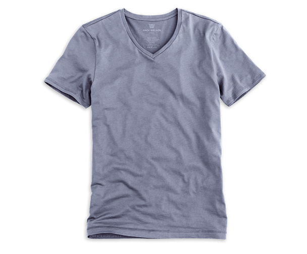 Stonewash | Front view of Silver V-Neck T-Shirt in Stonewash