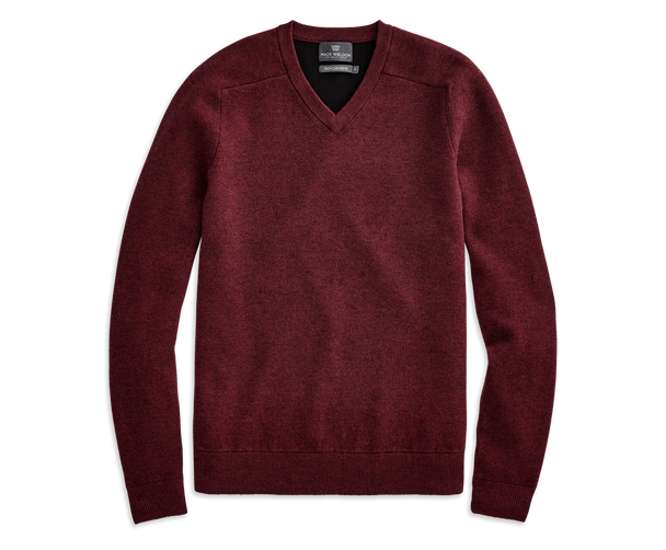 Malbec Heather | Front view of Tech Cashmere V Neck Sweater in Malbec Heather