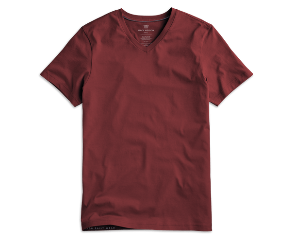 Red Fern | Front view of Pima V-Neck T-Shirt in Red Fern