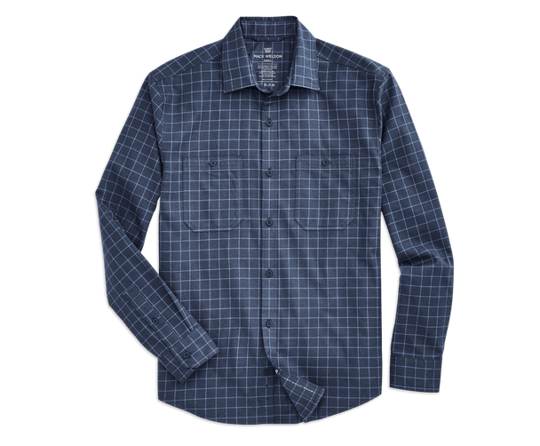 True Navy / Sharkskin - Tattersoul | Front view of WARMKNIT Flannel Shirt in True Navy / Sharkskin - Tattersoul