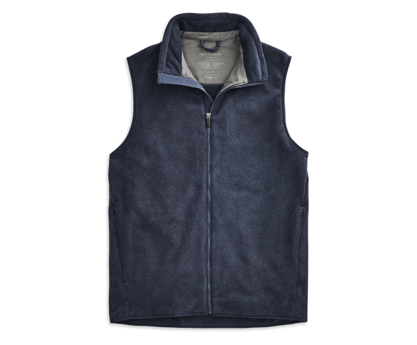 Navy Heather | Front view of WARMKNIT Fleece Vest in Navy Heather