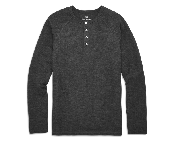Charcoal Heather | Front view of WARMKNIT Waffle Henley in Charcoal Heather