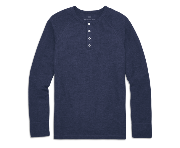 True Navy | Front view of WARMKNIT Waffle Henley in True Navy