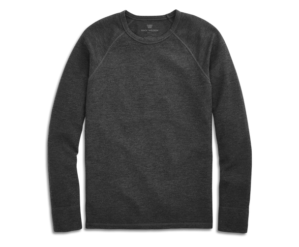 Charcoal Heather | Front view of WARMKNIT Waffle Crew Neck in Charcoal Heather