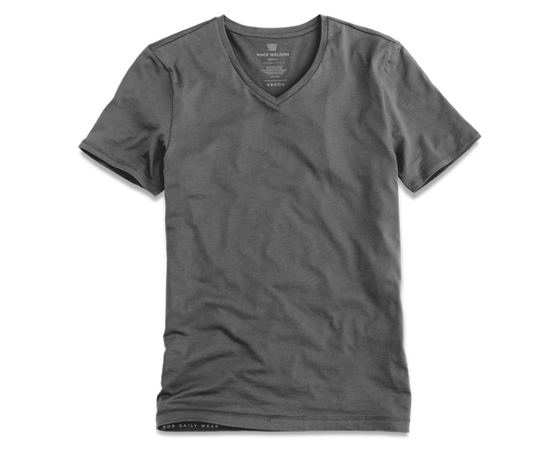 Stealth Grey | Front view of Silver V-Neck T-Shirt in Stealth Grey