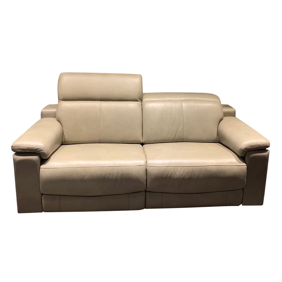 adjustable headrest recliner sofa in full leather