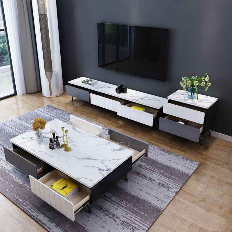 4 drawers marble coffee table living room