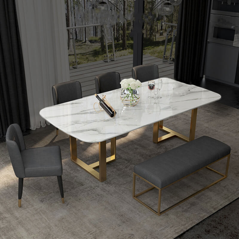 4 seater white marble dining table