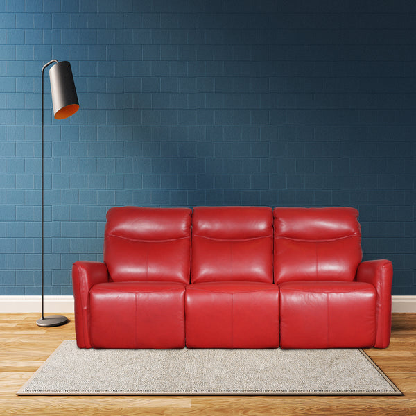 striking red power recliner sofa in italy top grain leather