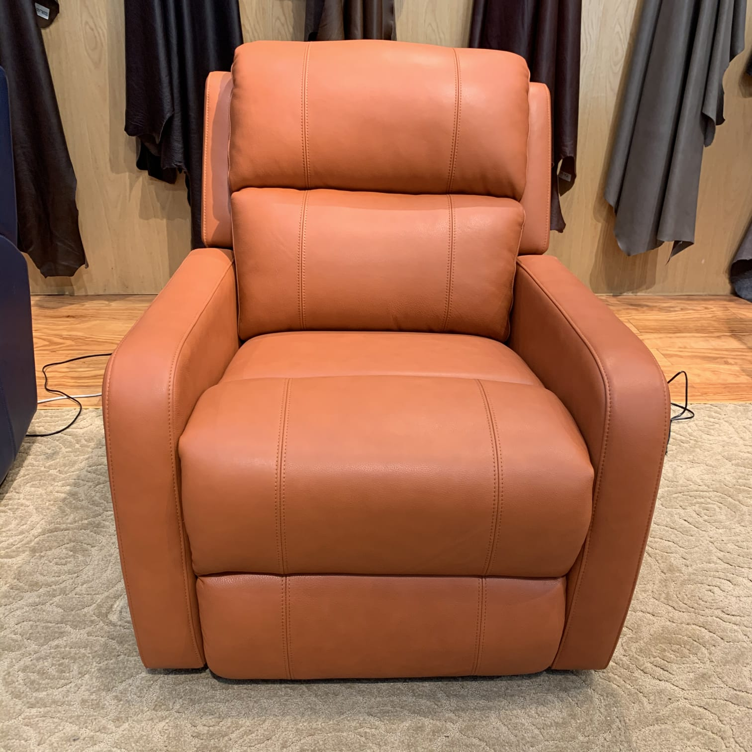 orange rocking recliner armchair in italian top grain leather
