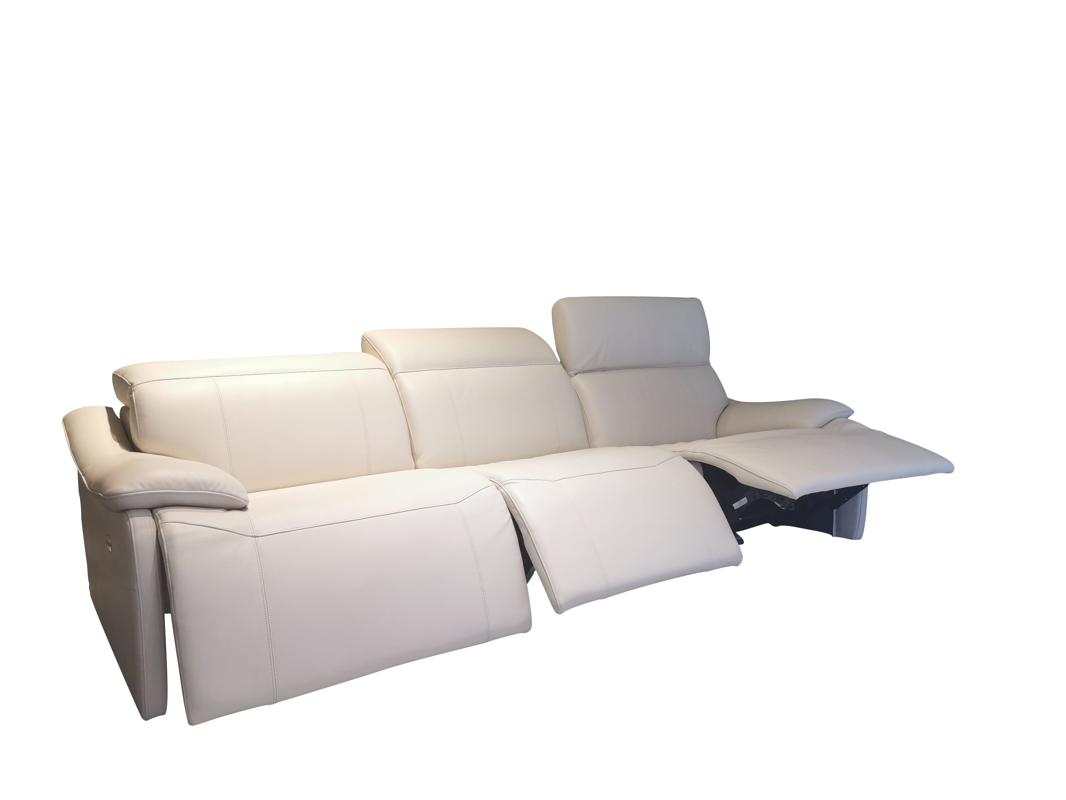 italian top grain leather sofa with 3 reclining seats