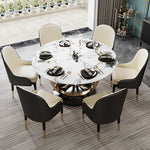 6 seater marble dining table modern black white chairs