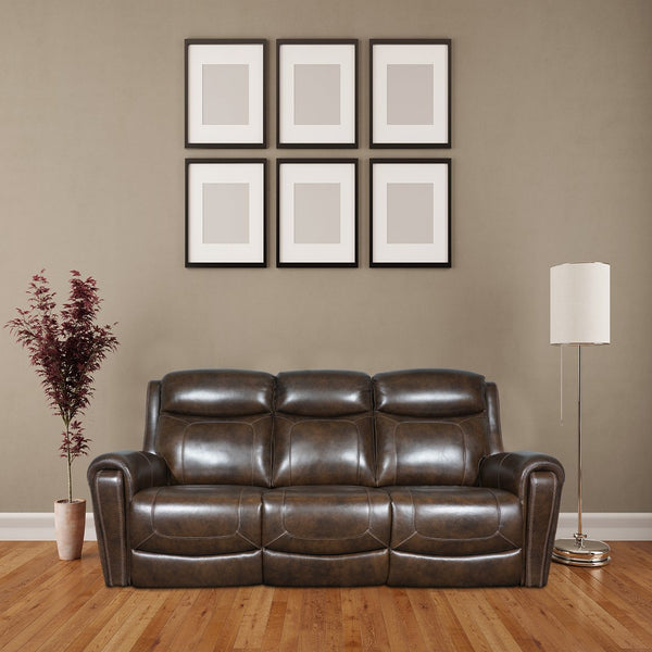 brown three seater motorised recliner sofa