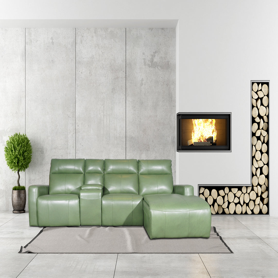 green L-shape electric recliner sofa full leather