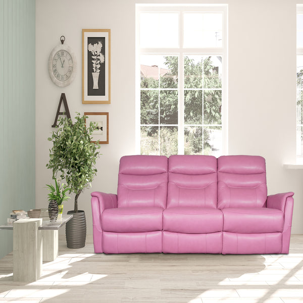vibrant pink 3-seater recliner sofa in full grain leather