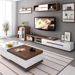 Brown white solid wood coffee table with storage