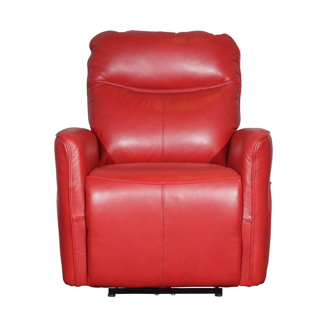 half leather red electric recliner one seater sofa
