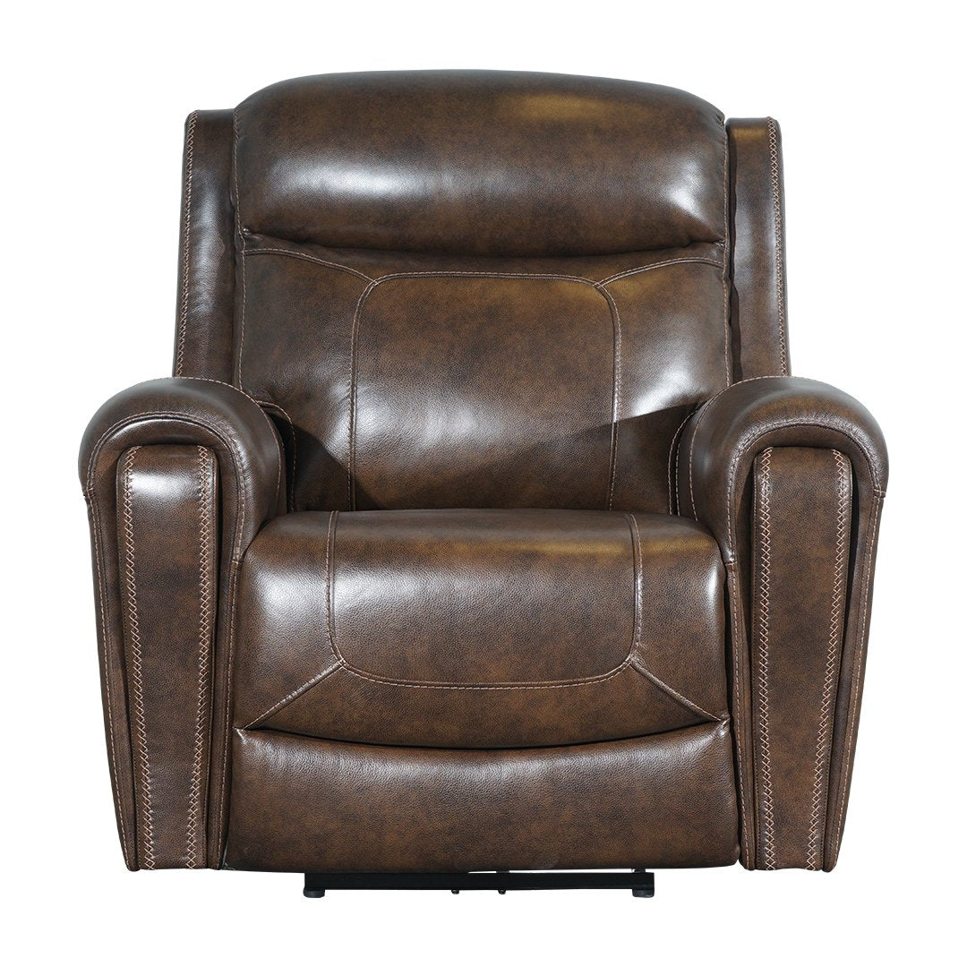 brown one seater motorised recliner sofa