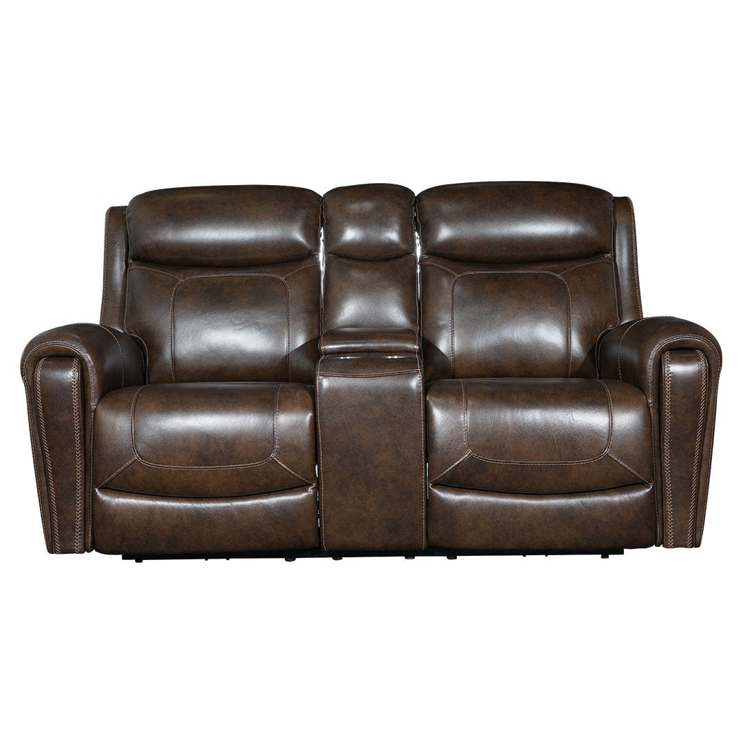 brown two seater motorised recliner sofa with middle console and cup holder