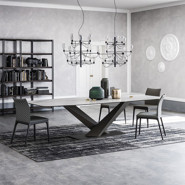 marble top dining table with cross metal feet