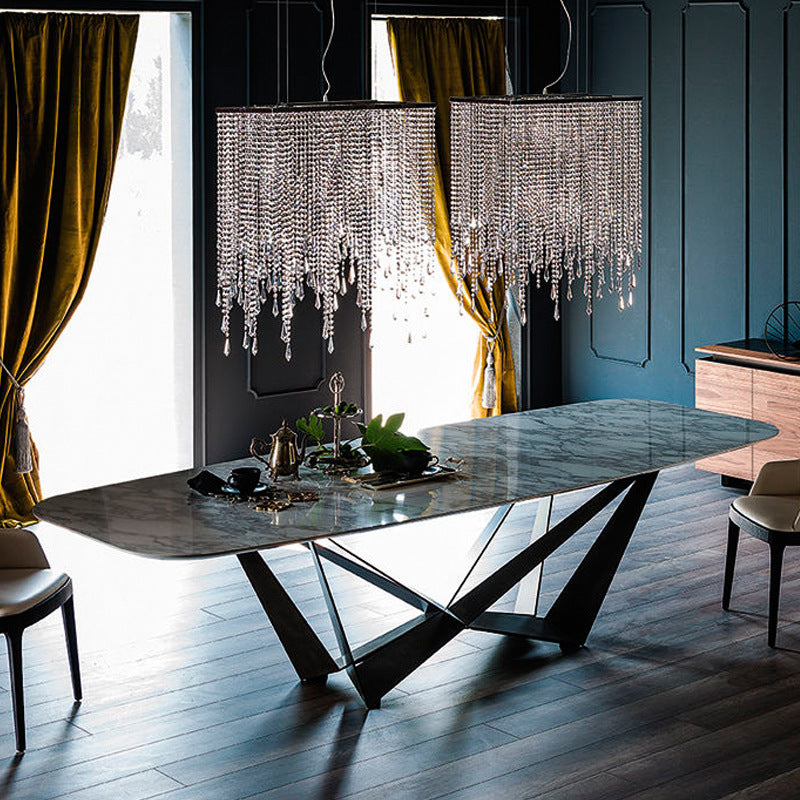 white marble top dining table with asphalt grey legs