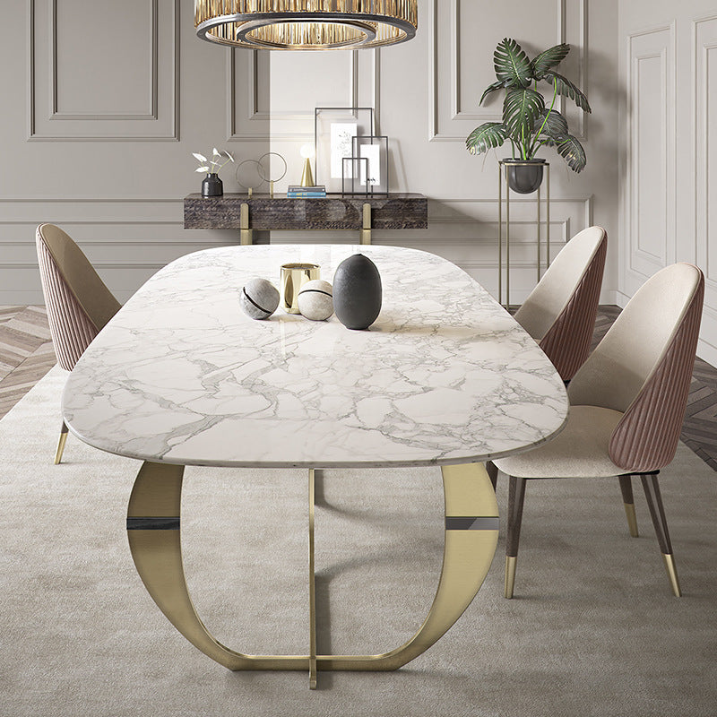 side view oval white marble top dining table with contrasting shape