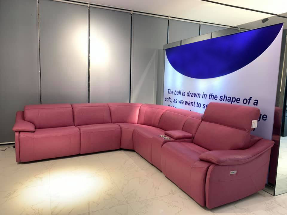 pink sofa 5 seater sectional power recliner