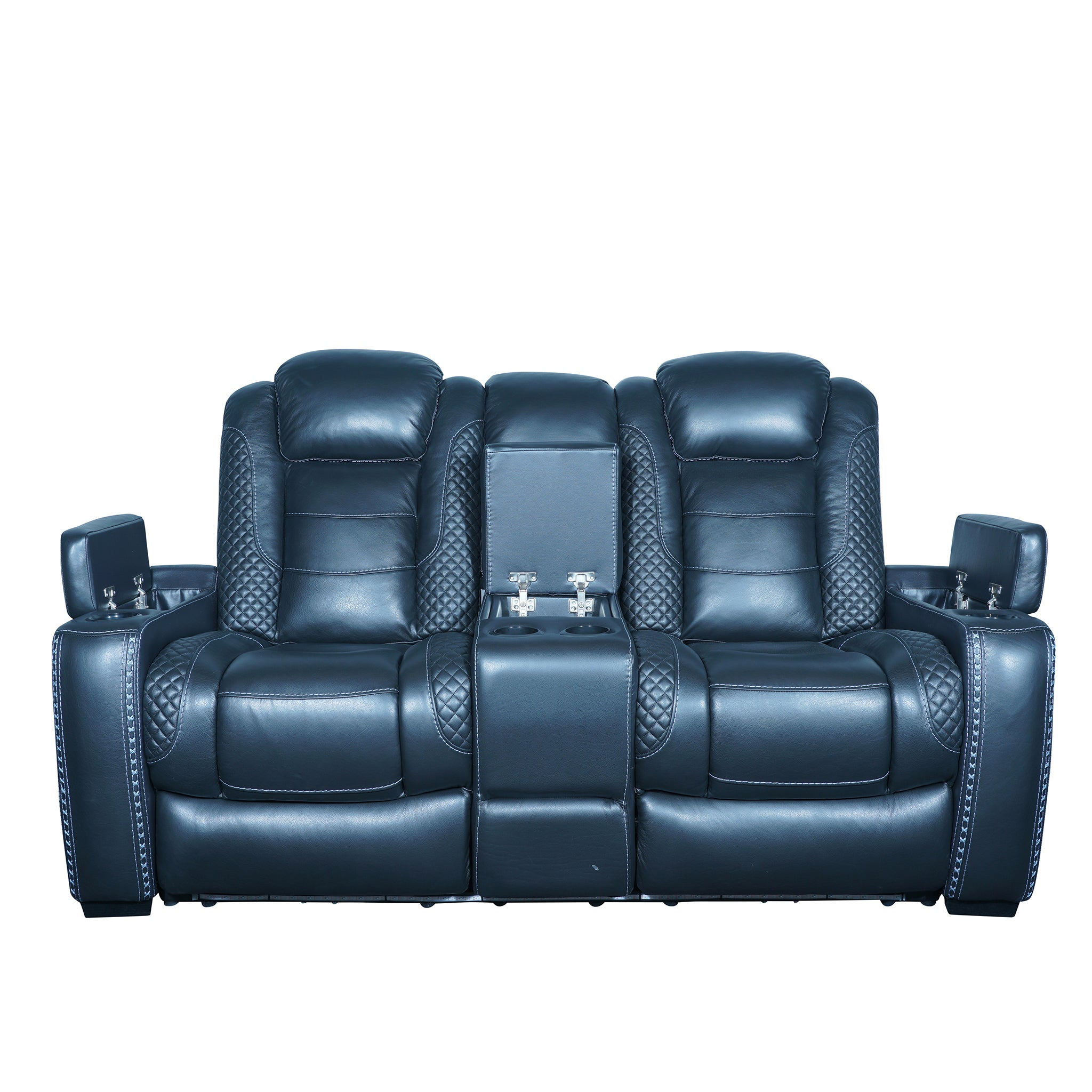 italian top grain leather 2 seater sofas with storage and cup holder