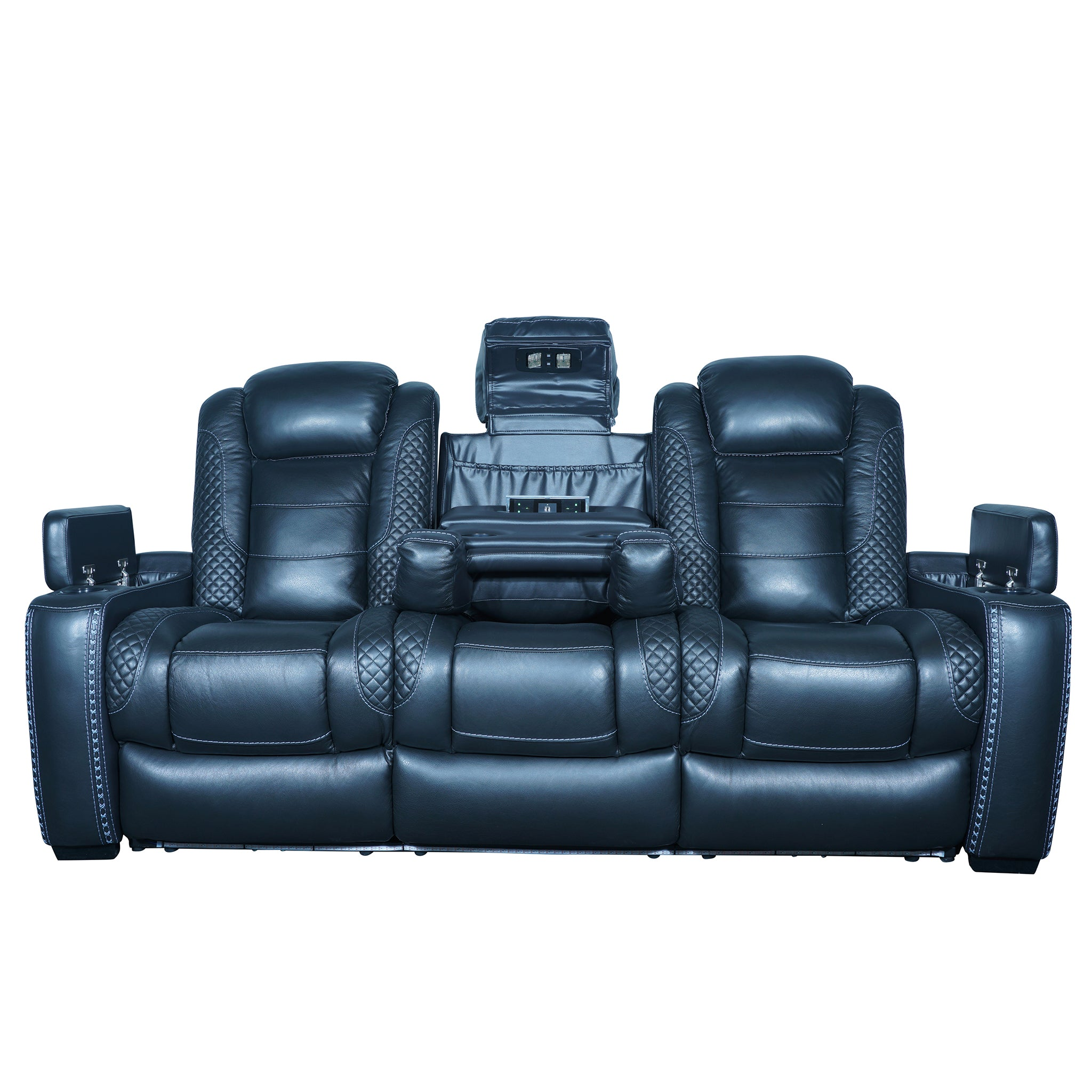 black 3 seater sofa home theater electric recliner with storage and cupholder