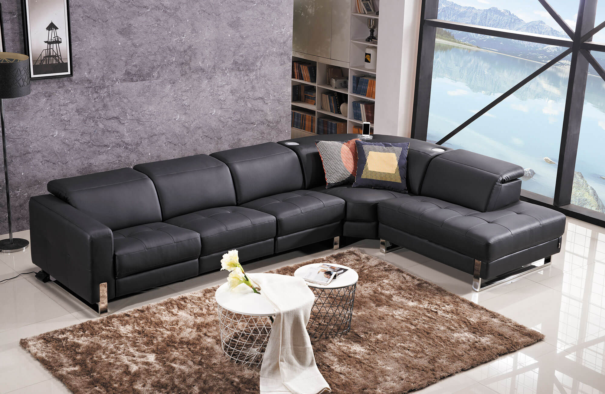 black leather electric recliner sectional sofa