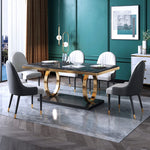 black marble dining table 2 gold ring leg base