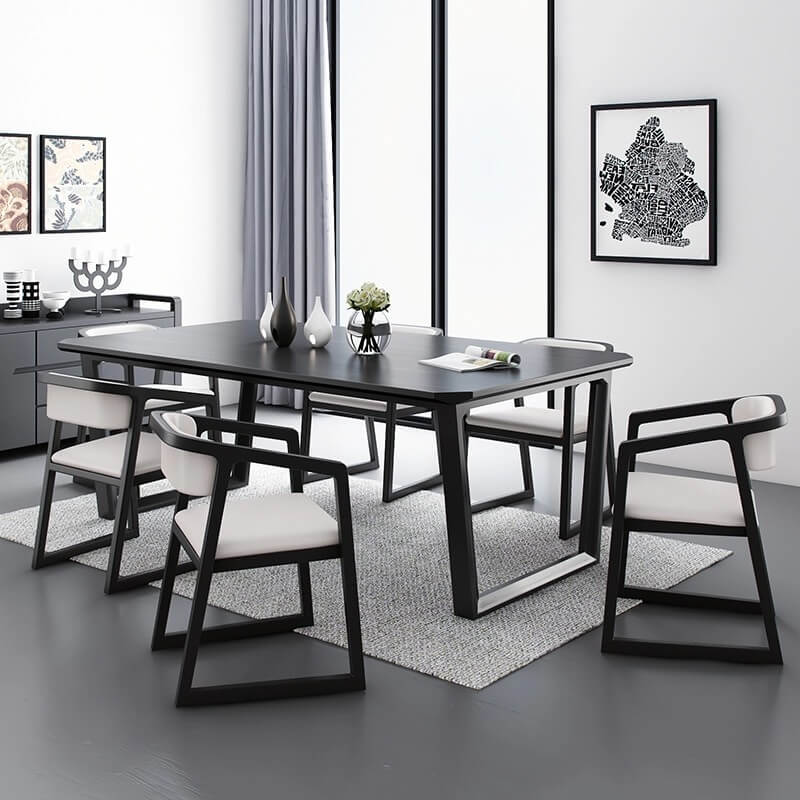 black solid wood dining table set 6 chairs