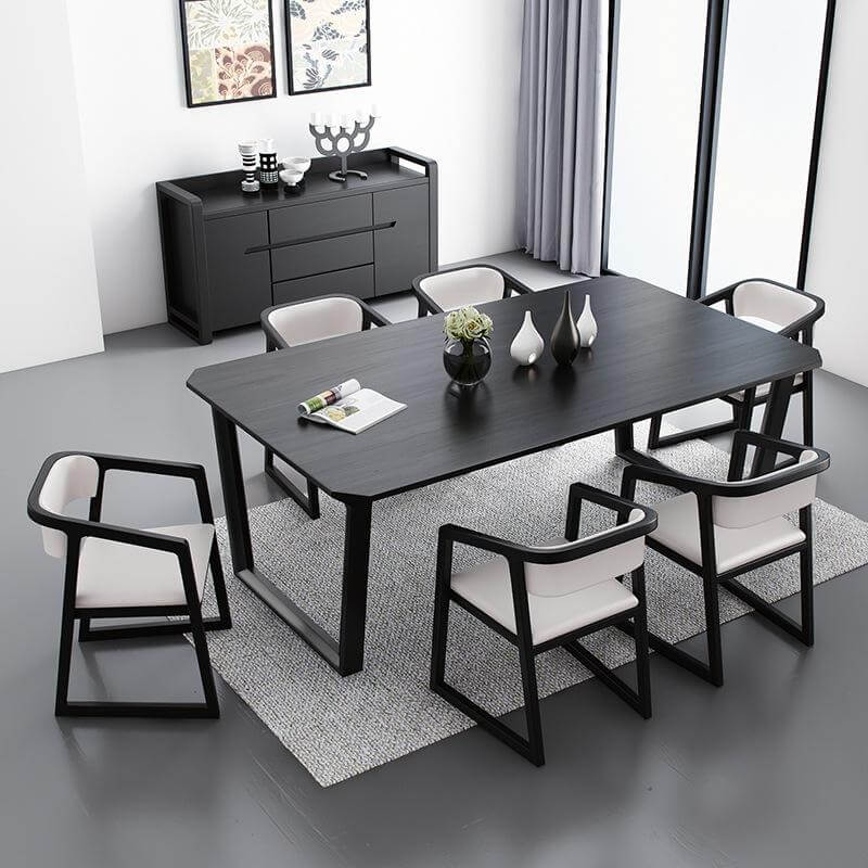 black solid wood dining table with 6 chairs