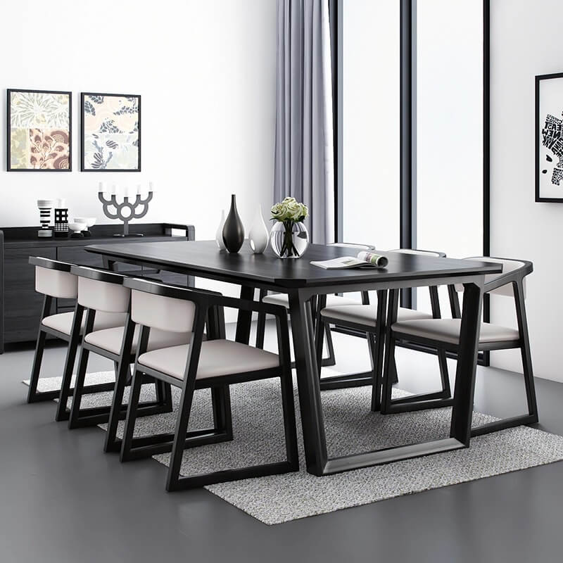 black wood dining table carbon steel leg side view