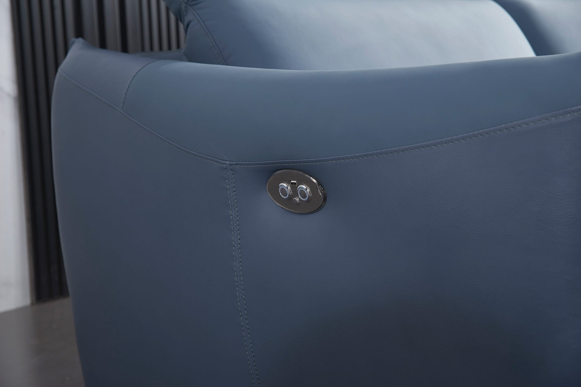 blue leather l shaped electric recliner buttons