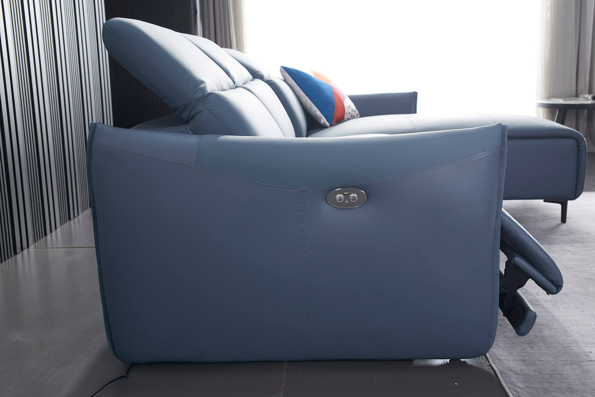 blue leather l shaped electric recliner side