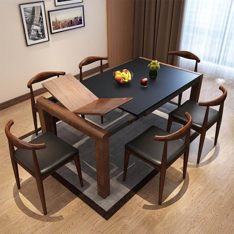 brown wood expandable dining table with dining chairs