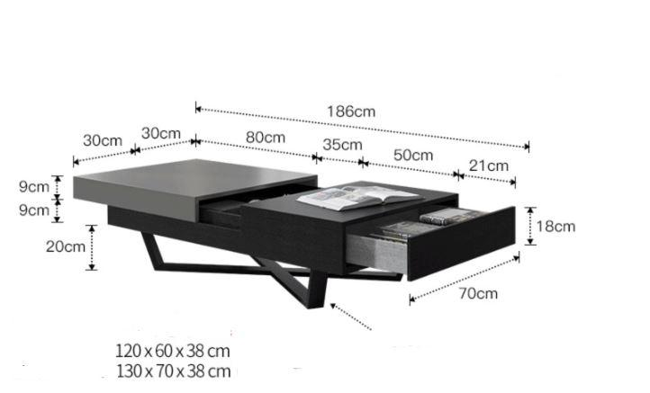 carbon metal coffee table dimension