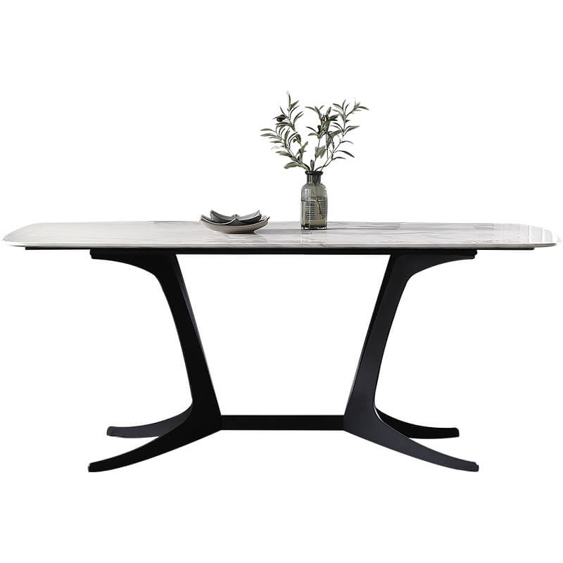 chic white marble dining table black legs